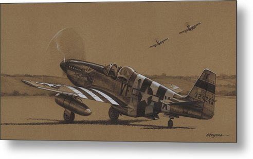 P-51 Mustang Metal Print featuring the drawing Flying Dutchman by Wade Meyers