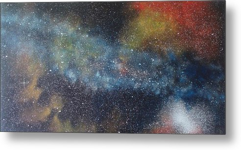 Space;stars;starry;nebula;spiral;galaxy;star Cluster;celestial;cosmos;universe;orgasm Metal Print featuring the painting Stargasm by Sean Connolly