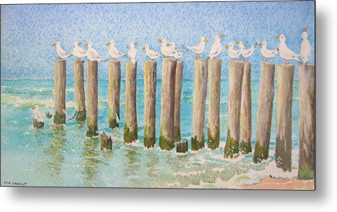 Seagulls Metal Print featuring the painting The Town Meeting by Mary Ellen Mueller Legault
