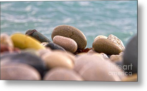 Abstract Metal Print featuring the photograph Beach And Stones by Stelios Kleanthous