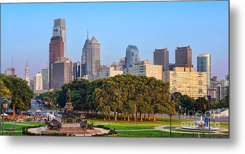 Downtown Metal Print featuring the photograph Downtown Philadelphia Skyline by Olivier Le Queinec