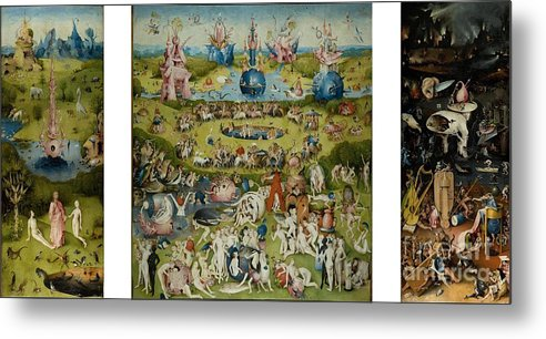 The Paintings Metal Print featuring the painting The Garden Of Earthly Delights By Hieronymus Bosch by Pg Reproductions
