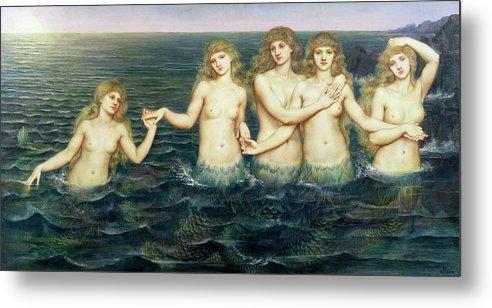 Evelyn De Morgan Metal Print featuring the painting The Sea Maidens 3 by Evelyn De Morgan