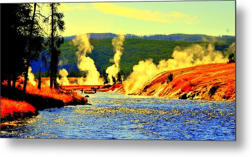 Lake View Metal Print featuring the digital art Yellowstone Park by Aron Chervin