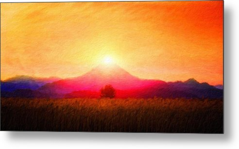 Landscape Metal Print featuring the painting Landscape Nature Art by World Map