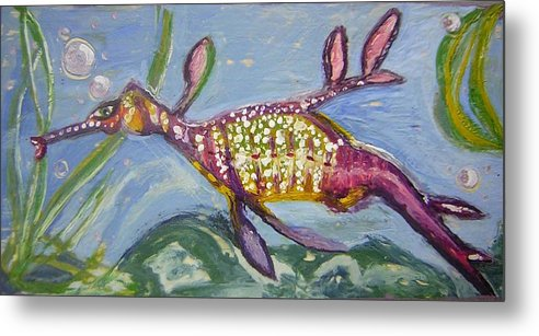 Sea Dragon Metal Print featuring the painting Anthropomorphic Sea Dragon 2 by Michelley QueenofQueens