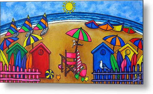 Beach Metal Print featuring the painting Beach Colours by Lisa Lorenz