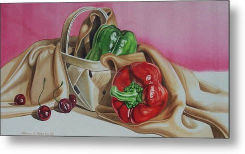 Still Life Metal Print featuring the painting Bell And Basket by Arnold Hurley