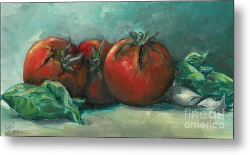 Tomatoes Metal Print featuring the painting Bruscetta by Linda Vespasian
