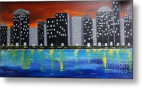 Acrylic Metal Print featuring the painting City Scape_night Life by Jimmy Clark