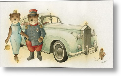 Bears Love Queen Limousine Rolls-royce Flirt Fashion Metal Print featuring the painting Florentius The Gardener08 by Kestutis Kasparavicius