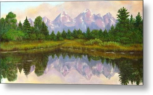Landscape Metal Print featuring the painting Grand Tetons by Merle Blair