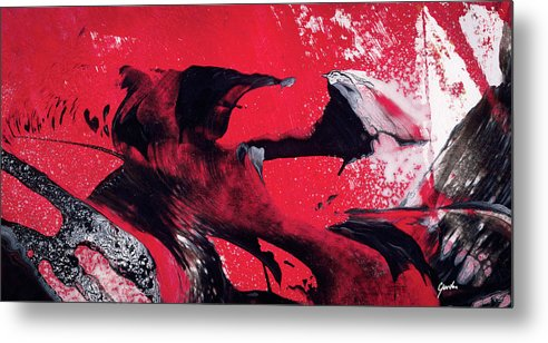 hope red black and white abstract art painting metal print by
