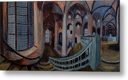 Achitecht Metal Print featuring the painting Inside The Church by Mats Eriksson
