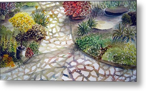 Garden Path Plants Metal Print featuring the painting Jennifers Garden by Joanne Smoley