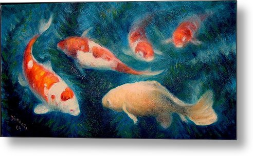 Realism Metal Print featuring the painting Koi Ballet 2 by Donelli DiMaria