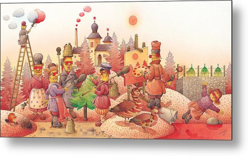 Red Russia Dream Metal Print featuring the painting Lisas Journey10 by Kestutis Kasparavicius