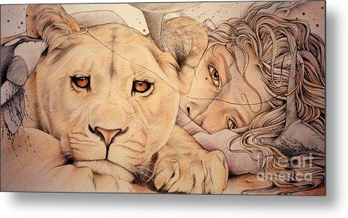 Lion Metal Print featuring the drawing Lyonesse by Johanna Pieterman