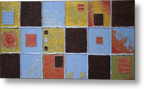Collage Metal Print featuring the painting Material World by Amy Parker