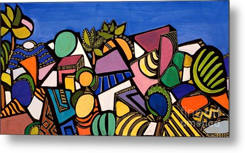 Abstract Metal Print featuring the painting My Colorful World by Maya Green