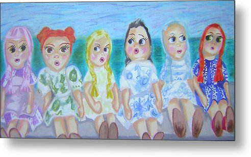 Dolls Metal Print featuring the painting Shut Up And Look Pretty by Michelley QueenofQueens