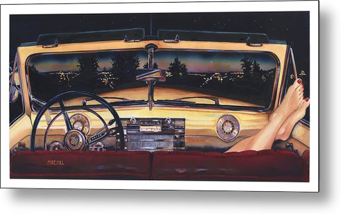 1948 Buick Roadmaster Convertable Car Automobile Feet Pedicure Night Skyline Parking Make Out Love Metal Print featuring the painting That Night On Walters Hill by Mike Hill