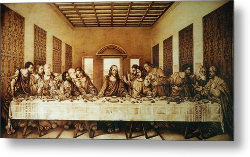 Dino Muradian Metal Print featuring the pyrography The Last Supper by Dino Muradian