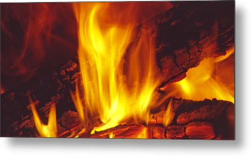 Fire Metal Print featuring the photograph Wood Stove - Blazing Log Fire by Steve Ohlsen