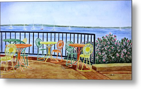 Watercolor Metal Print featuring the painting The Terrace View by Thomas Kuchenbecker