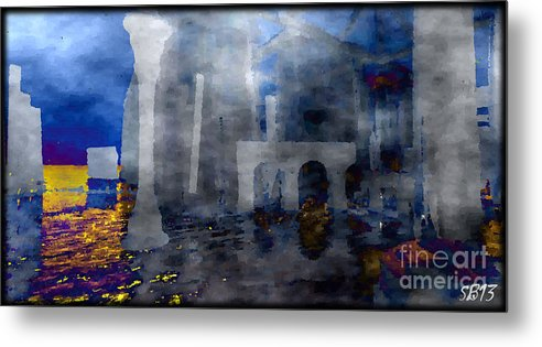 Abstract Metal Print featuring the digital art Distant Shore by Susanne Baumann