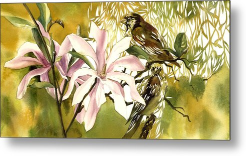 Magnolias Watercolor Metal Print featuring the painting Magnolias With Sparrows by Alfred Ng