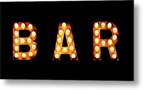 Light Bulb Metal Print featuring the photograph Old-fashioned Bar Sign by Marla Osborn