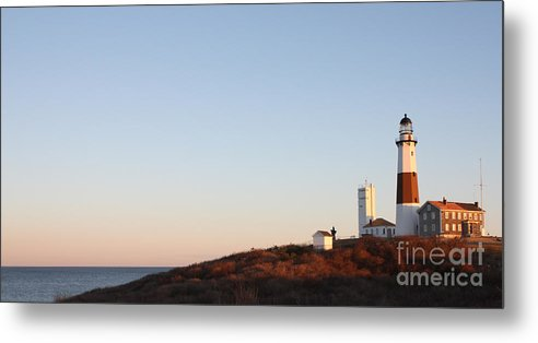 Sunset Over Montauk Lighthouse Metal Print featuring the photograph Sunset Over Montauk Lighthouse by John Telfer
