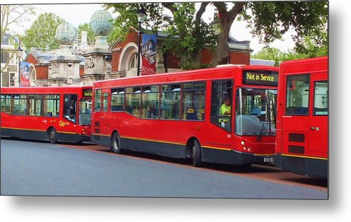 Buses Metal Print featuring the photograph A Bevy Of Buses by Anna Villarreal Garbis