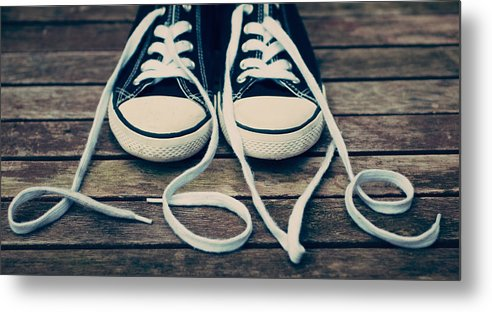 Horizontal Metal Print featuring the photograph Shoes With Laces by VPhotography