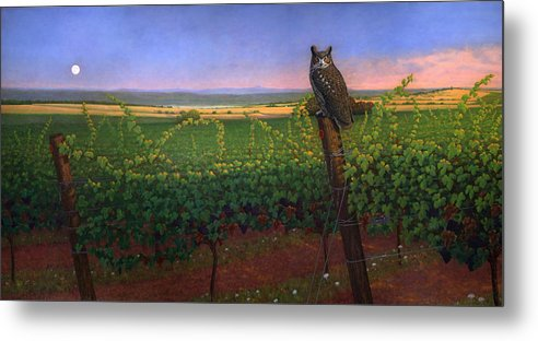 Wine Metal Print featuring the painting Vinyard Equinox by Jon Janosik