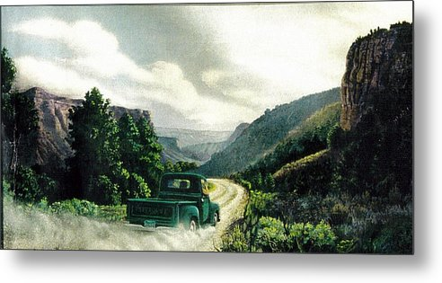 Landscape Metal Print featuring the print '50 Chevy Pickup In Unaweep Canyon by Lee Bowerman