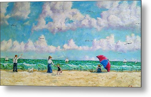 Beach Metal Print featuring the painting A Day At The Beach by Frank Morrison