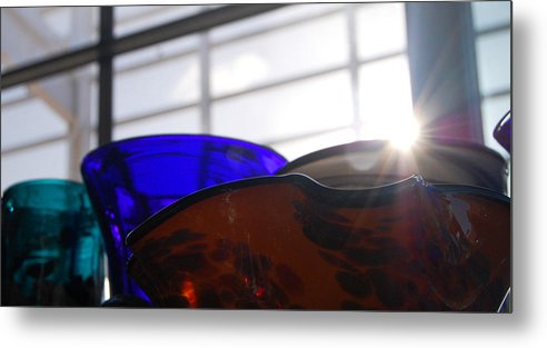 Glass Metal Print featuring the photograph Colored Glass Horizon by Jean Booth