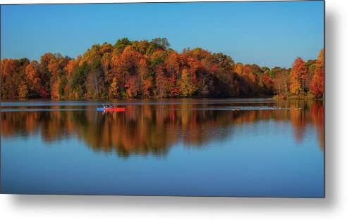 Lake Metal Print featuring the photograph Following The Geese by Larry Helms