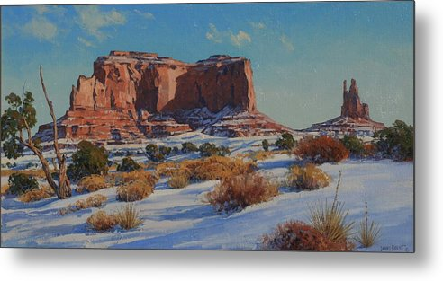 Landscape Metal Print featuring the painting Saddleback Butte-monument Valley by Lanny Grant