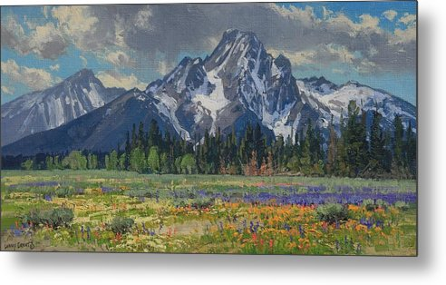 Landscape Metal Print featuring the painting Spring In Wyoming by Lanny Grant
