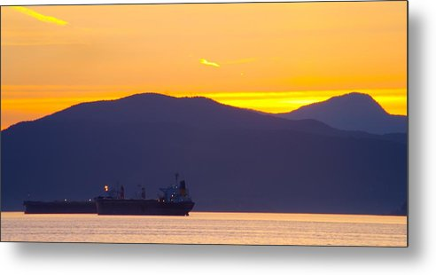 Vancouver Metal Print featuring the photograph Sunset And Tanker by Paul Kloschinsky