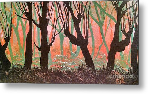 Metal Print featuring the painting Trees At Sunset by Barbra Kotovich