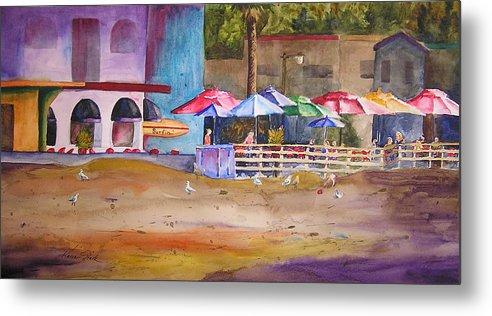 Umbrella Metal Print featuring the painting Zelda's Umbrellas by Karen Stark