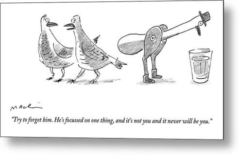 Men Metal Print featuring the drawing A Female Pigeon Consoles Another Female Pigeon by Michael Maslin
