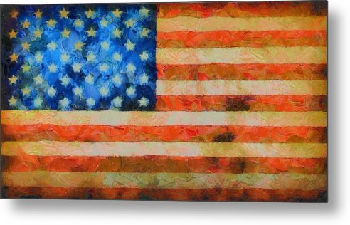 Old Glory Metal Print featuring the painting Civil War Flag by Dan Sproul