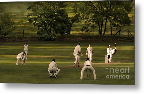 Leather Metal Print featuring the photograph English Village Cricket by Linsey Williams