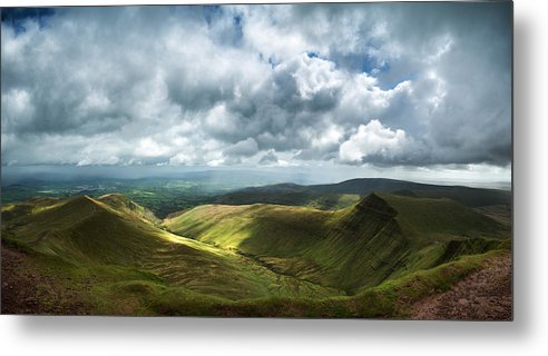 Brecon Beacons Metal Print featuring the photograph Stunning Large Panorama Landscape Of Brecon Beacons View From Pe by Matthew Gibson