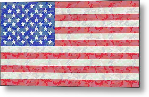Flag Metal Print featuring the digital art Woodland Camo Us Flag by Ron  Hedges cb156f0a164